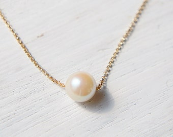 Japanese Clutured Pearl Necklace, 18k Solid Gold Chain Necklace, Akoya Pearl Pendant,  Pearl Slide Necklace