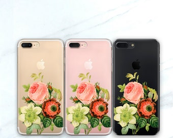 One Floral iPhone 6S Case Clear Flower iPhone 7 Case, Vintage Bouquet iPhone 8 Plus Case Clear With Design iPhone X, SE / 5S