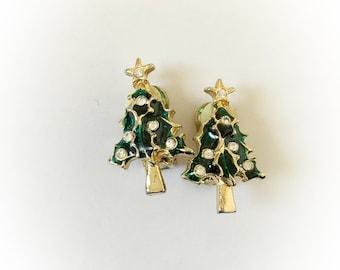 Vintage Christmas Tree Enamel and Rhinestone Earrings Clip On