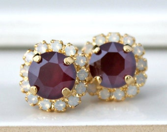 Shiny Dark Red Swarovski Crystals Framed with White Opal Halo Crystals on Gold Stud Earrings