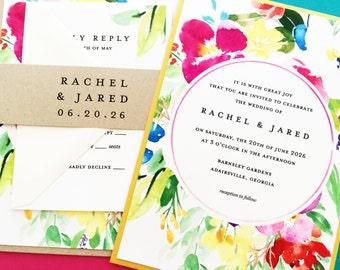 Wedding Invitation, Wedding Invite, Summer Floral Wedding Invitations, Summer or Spring Floral Wedding Suite, Yellow, Pink, Greenery, Teal