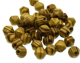 Bicone Wood  Beads, 15x15mm, Light Brown Color, 50pcs,  Wooden Beads -B742