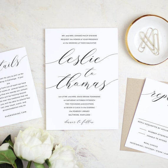 Software Wedding Invitations: Printable Wedding Invitation Template Modern Calligraphy