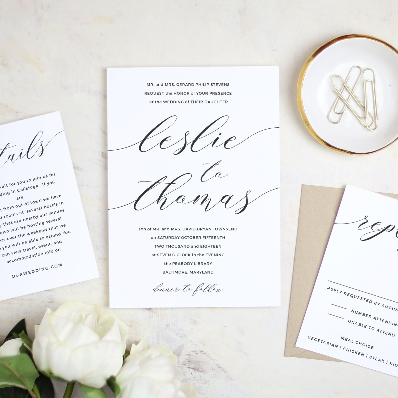 Printable Wedding Invitation Template Modern Calligraphy