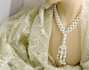 Ladder Tassel Necklace Vintage 70s Jewelry White Faux Pearl Beads