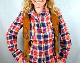 Vintage Western Leather Fringe Vest