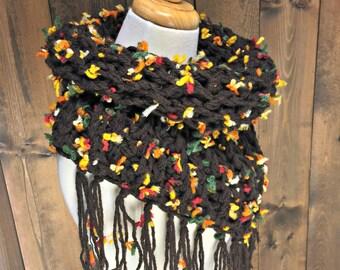 Crochet Triangle Tube Scarf with Fringe - MOONWAKE - Autumn Vibes