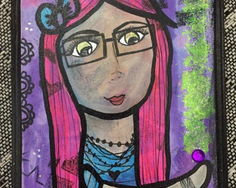 you are magic inspirational girl art, mixed media folk art on wood, ready to hang, kids room, decor, green eyes, pink hair, magic, glasses