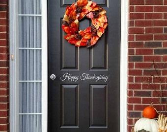 Happy Thanksgiving Decal - Front Door Decal - Thanksgiving Decor - Door Sticker
