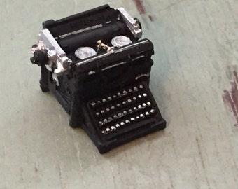 Miniature Typewriter, Vintage Underwriter Style Typewriter, Dollhouse Miniature, 1:12 Scale, Black Typewriter, Dollhouse Accessory, Decor