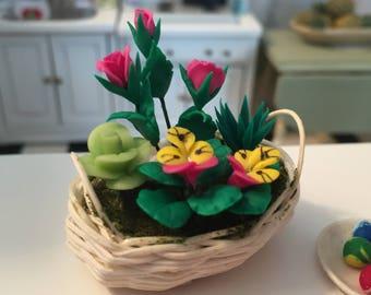 Miniature Basket of Flowers, Roses & Pansies, Dollhouse Miniatures, 1:12 Scale, Flower Arrangement, Mini Flowers in Wicker Basket