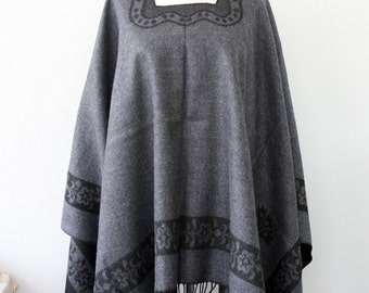 Gray poncho bohemian poncho boho clothing winter wrap vegan poncho native poncho hippe poncho christmas gift idea for her womens gift