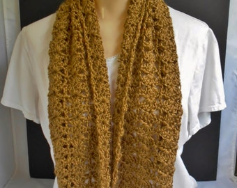 Brown Crochet Scarf Handmade Long Lacey Knit Wrap Neck Warmer Gift Idea for Women