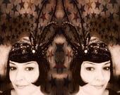 1920s Jewelled Flapper Showgirl Cap Headdress. Vintage Burlesque Headpiece. Theatrical Costume. Vaudeville. 20s 30s