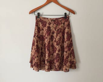 muted flowers mini skirt   layering flounce   chiffon mini skirt