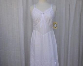 Slip Dress 34/36 S/M White Dove Glam Garb Handmade USA Romantic Honeymoon Victorian Nightgown Steam-punk Full-Slip Vintage Cotton Mori Boho