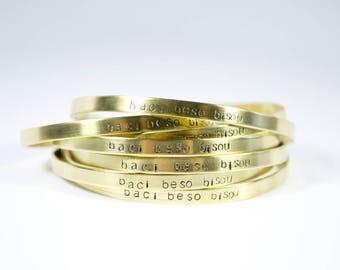 Hand Stamped Cuff Romantic Gifts Skinny Cuff Stacking Bracelet Dainty Jewelry Dainty Bracelet Minimalist Bracelet Baci Beso Bisou Jewelry