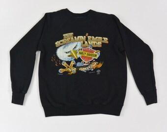 Vintage Harley Davidson Sweatshirt, Eagle, Biker, Size XS-Small, Motorcycle, 80's, 90's Clothing, Animal Sweatshirt, American Flag