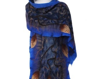 Nunofelted scarf,  royal blue, unique handmade