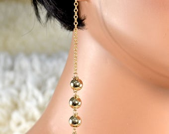 LP 1392   14KGF Beads And Round Black Drusy Earrings