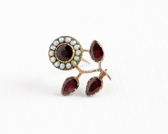 Antique Georgian 10k Rose Gold Garnet & Seed Pearl Flower Brooch - Rare 1830s Red Purple Closed Back Gems Floral Cluster Pin Fine Jewelry