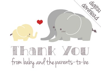 Printable Thank You Cards - Gender Neutral Elephant Baby Shower Thank-Yous - Digital Download
