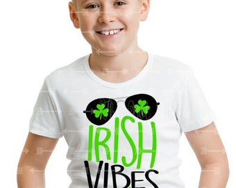 """Toddler, Youth Boys """"Irish Vibes Only"""" White Short Sleeve Tshirt - Boy Style St. Patrick's Day Shirt 2T 3T 4T 5T Youth Boy"""