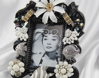Jeweled Picture Frame Vintage Jewelry Black and White Ocean Theme with Swarovski, All Occasion Gift