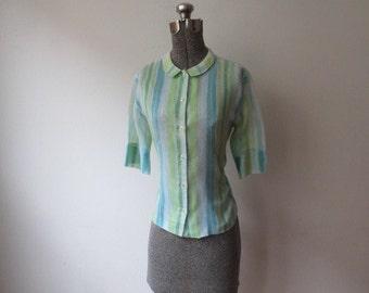Vintage '50s/'60s Majestic Peter Pan Collar Striped Super Thin Cotton Blouse, Medium