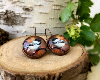 Chickadee Bird Earrings, Antique Copper, Glass Cabochon, Bird Jewelry