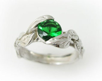Emerald Leaf Engagement Ring, Leaves Engagement Ring, White Gold Leaves Ring With Emerald, Green Stone White Gold Antique Engagement Ring