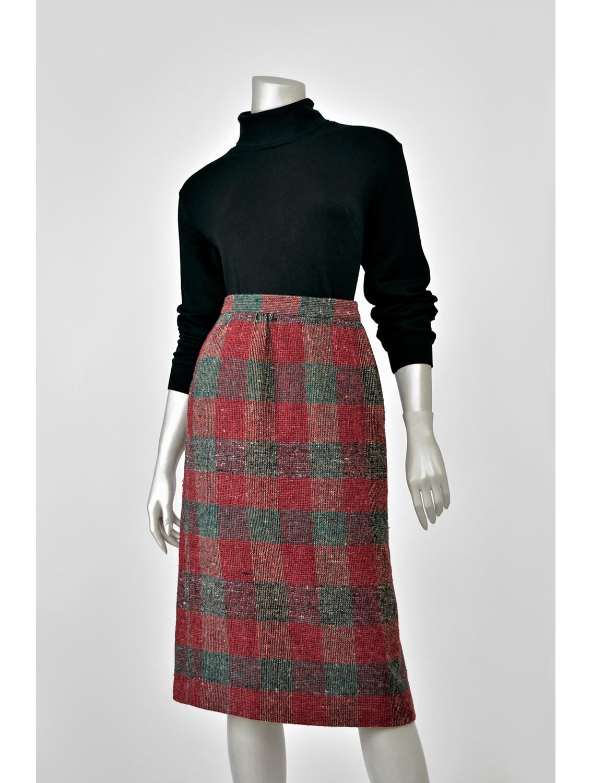sale vintage wool pencil skirt plaid wool skirt donegal tweed