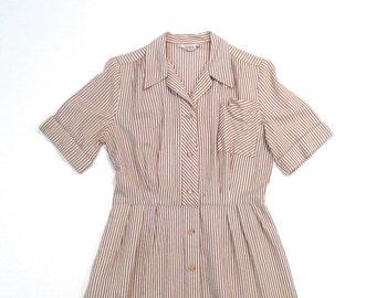 Seersucker Shirtwaist Dress Vintage 1950s Anne Garson Brown and White Stripe Day Dress New England Belted Collared Rockabilly Matching Belt