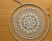 Crochet Mandala in a Wrapped Hoop, 12 inch Dream Catcher Top, Boho Wall Hanging, Textile Wall Art, Large Dream Catcher Starter Ring