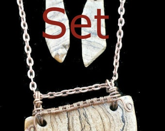 Set- Picture Jasper Southwest Necklace and Earrings in Antiqued Copper Wire. Wire Woven Pendant and Earrings in Brown and Tan Natural Shapes