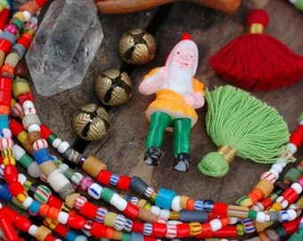 Winter Wonderland: Ghana Christmas Glass Beads, Bright Tribal Fun Tube Rondelle Beads, Assorted Sizes, Small Colorful Spacer Beads, Holiday