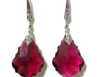 Fuchsia Pink Earrings, Siam Red Earrings, Gatsby Earrings, Art Deco Earrings, Swarovski Crystal Bridesmaid Earrings, Bridesmaid Gift, DIVA
