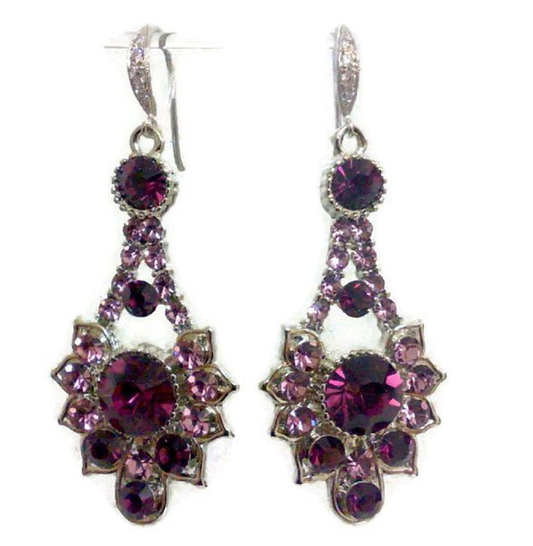 purple amethyst bridal earrings deco wedding jewelry