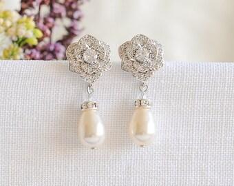 Wedding Earrings, Bridal Earrings, Crystal Earrings, Rose Flower Earrings, Swarovski Pearl Drop Earrings, Bridal Dangle Earrings, ROSELLE