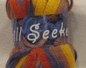 Scarf Knitting Yarn Frill Seeker by Estelle 204 yellow steel blue rust beige ruffle frilly scarf yarn for knitting