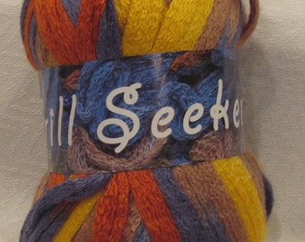 Scarf Knitting Yarn Frill Seeker by Estelle 204 yellow steel blue rust beige ruffle frilly scarf yarn for knitting