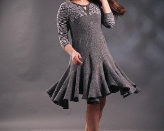 Gray dress, gray melange dress, upcycled dress, frills dress, unique dress, handmade dress, loose dress, one of a kind dress