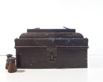 Vintage Metal Toolbox / Black Industrial Lock Box Chest / Industrial Storage