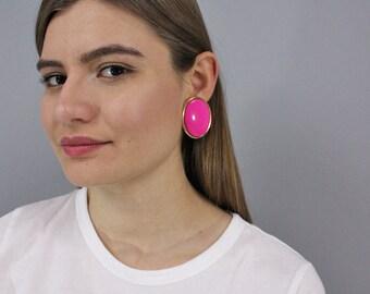 Oversized Round Earrings / 80's Geometric Earrings / Circle Earrings / Costume Jewelry / Fashion Earrings / Minimalist Earrings