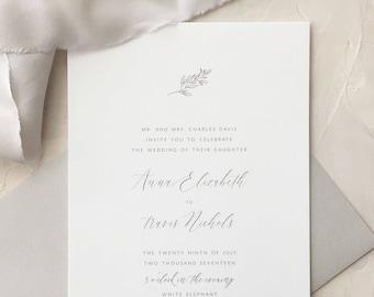 Simple Wedding Invitation Sample - Anna | Hand Illustrated Wedding Invites | Leaf Wedding Invitation | Illustration Invitation | Invites