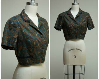Vintage 1950s Shirt • Brunch Club • Brown Blue Printed Cotton 50s Cropped Jacket Bolero Size Small