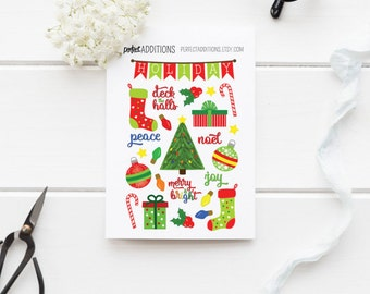Christmas Planner Stickers - Xmas Stickers  Christmas Tree Stickers Holiday Planner Stickers Erin Condren MAMBI Happy Planner X-mas Stickers