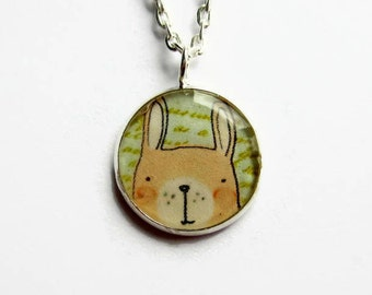 Cute Rabbit Necklace - Rabbit Pendant - Easter Bunny Necklace - Rabbit Jewellery - Bunny Jewelry - Gift for Her - Candy Free Gift