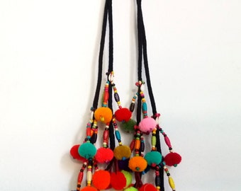 2 Set of Thai PomPom  Bohemian Hmong Embroidered Hobo Pom Pom Bead Accessoires
