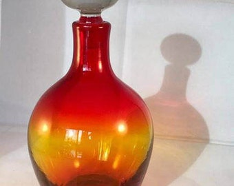 Blenko 7321 decanter in tangerine with crystal stopper by John Nickerson